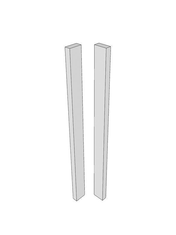 Remo Gloss Silver Grey Corner post, 715x70x22mm - slab with out handle profile